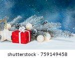fir tree branch with light...   Shutterstock . vector #759149458