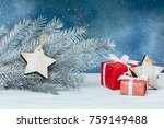decorated silver christmas tree ...   Shutterstock . vector #759149488