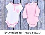 infants rompers hanging on rope....   Shutterstock . vector #759154630