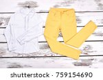 girls blouse and yellow... | Shutterstock . vector #759154690