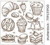 sweet desserts  cakes and... | Shutterstock .eps vector #759155920