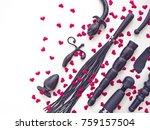 various rubber sex toys  dildo  ... | Shutterstock . vector #759157504