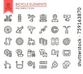 bicycle elements   thin line... | Shutterstock .eps vector #759163870
