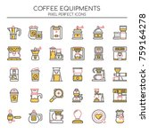coffee equipments   thin line... | Shutterstock .eps vector #759164278