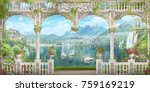 white arch with a view of the... | Shutterstock . vector #759169219