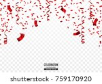 red confetti background in... | Shutterstock .eps vector #759170920