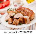 baked homemade sausage on a... | Shutterstock . vector #759180739