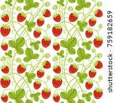 strawberry seamless vector...   Shutterstock .eps vector #759182659