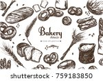 bakery shop frame . bag of... | Shutterstock .eps vector #759183850