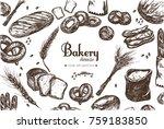 bakery shop frame . bag of... | Shutterstock .eps vector #759183850