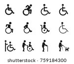 disabled handicap icons | Shutterstock .eps vector #759184300