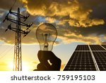 electricity transmission pylon  ... | Shutterstock . vector #759195103