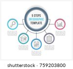 infographic template with five... | Shutterstock .eps vector #759203800