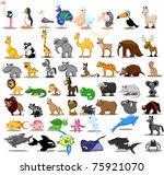 Stock vector extra large set of animals including lion kangaroo giraffe elephant camel antelope hippo 75921070