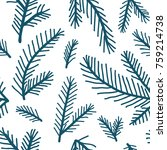 doodle pine branches hand drawn ... | Shutterstock .eps vector #759214738