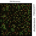 An example of DNA microarrays, used in cancer (and other diseases) research; scientifically accurate. - stock vector