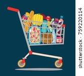 supermarket shopping cart... | Shutterstock .eps vector #759220114