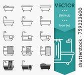 bathtub icons vector in trendy...   Shutterstock .eps vector #759223600