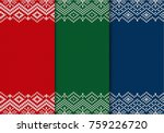 three seamless knitted... | Shutterstock .eps vector #759226720