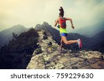 trail running woman at great... | Shutterstock . vector #759229630
