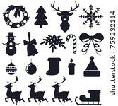 christmas black silhouette flat ... | Shutterstock .eps vector #759232114