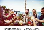 friends having a summer party | Shutterstock . vector #759233398
