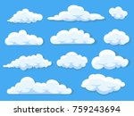 Set of different cartoon clouds isolated on blue sky panorama vector collection | Shutterstock vector #759243694