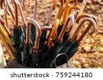 vintage wooden umbrellas in a...   Shutterstock . vector #759244180