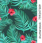 seamless tropical pattern with  ... | Shutterstock .eps vector #759247309