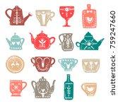 vector set of stylish teapots... | Shutterstock .eps vector #759247660