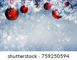 christmas background with red... | Shutterstock . vector #759250594