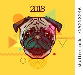 portrait of a dog on a yellow... | Shutterstock .eps vector #759253246