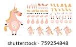 cartoon unicorn creation set....   Shutterstock .eps vector #759254848