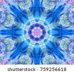 digital blue abstract mandala....   Shutterstock . vector #759256618