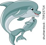Stock vector dolphin mother and baby isolated on white background 75925714