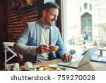 businessman enjoying coffee and ... | Shutterstock . vector #759270028