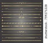 set of golden vintage line with ... | Shutterstock .eps vector #759271228