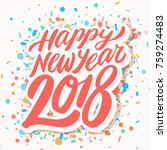 happy new year 2018. greeting... | Shutterstock .eps vector #759274483