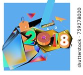 new year 2018. geometric... | Shutterstock .eps vector #759278020