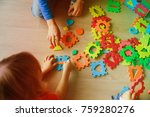 kids playing with puzzle  early ... | Shutterstock . vector #759280276