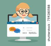 seo social management hold by... | Shutterstock .eps vector #759280588
