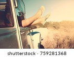 girl's legs in a retro car  at... | Shutterstock . vector #759281368