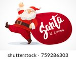 christmas card. funny cartoon... | Shutterstock .eps vector #759286303