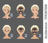applying facial mask steps.... | Shutterstock .eps vector #759287008