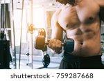 muscular builder asian man... | Shutterstock . vector #759287668