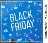 Small photo of Black friday advert against blue paint