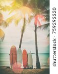 surfboard and palm tree on... | Shutterstock . vector #759293320