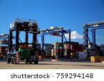 quay straddle carrier driver... | Shutterstock . vector #759294148