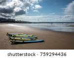 surfboards on the beach of les...   Shutterstock . vector #759294436