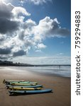 surfboards on the beach of les... | Shutterstock . vector #759294883